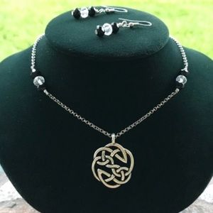 Celtic knot necklace + crystal earrings